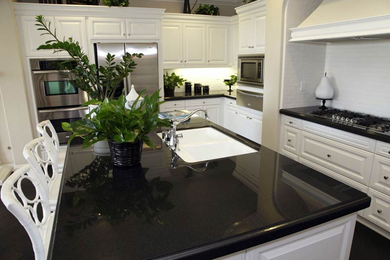 Granite Countertops Black White Cabinets Fort Wayne Granite Countertops  Black White Cabinets Fort Wayne MKD Kitchens